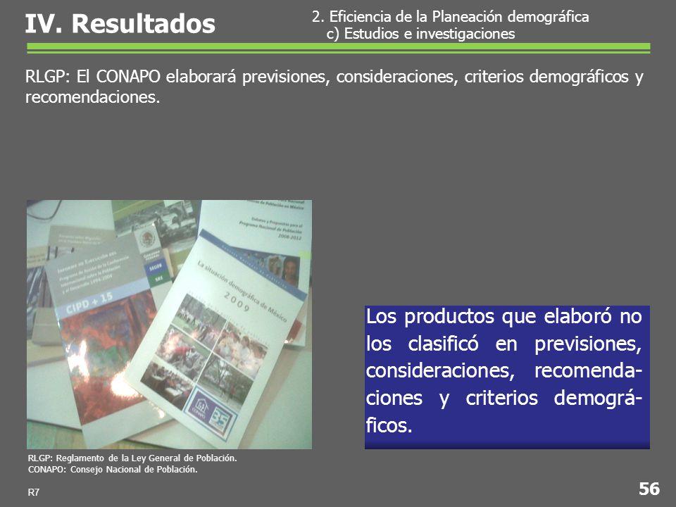 Los productos que elaboró no los clasificó en previsiones, consideraciones, recomenda- ciones y criterios demográ- ficos.