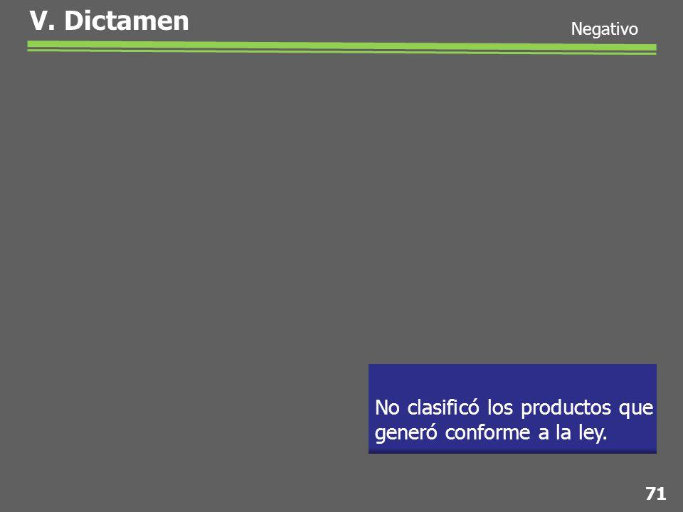 No clasificó los productos que generó conforme a la ley. V. Dictamen 71 Negativo