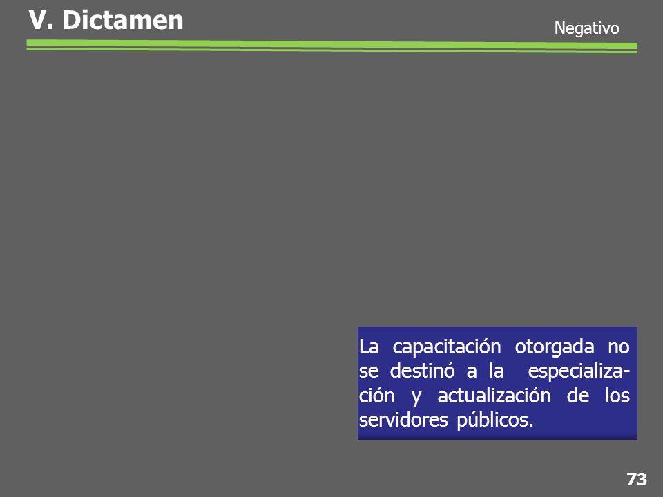 V. Dictamen La capacitación otorgada no se destinó a la especializa- ción y actualización de los servidores públicos. 73 Negativo