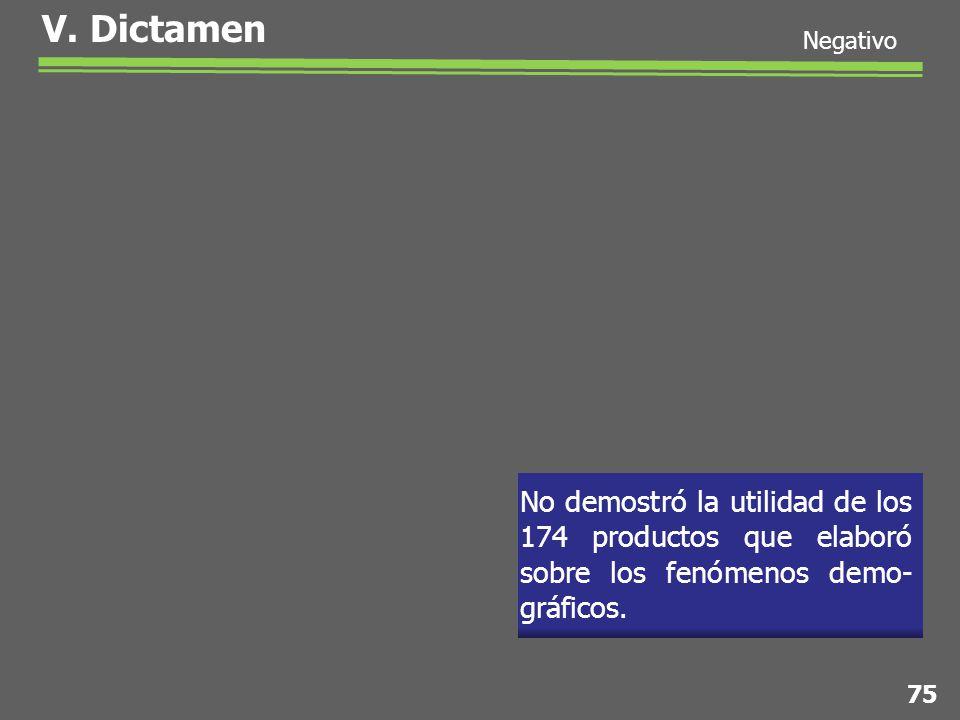 No demostró la utilidad de los 174 productos que elaboró sobre los fenómenos demo- gráficos.