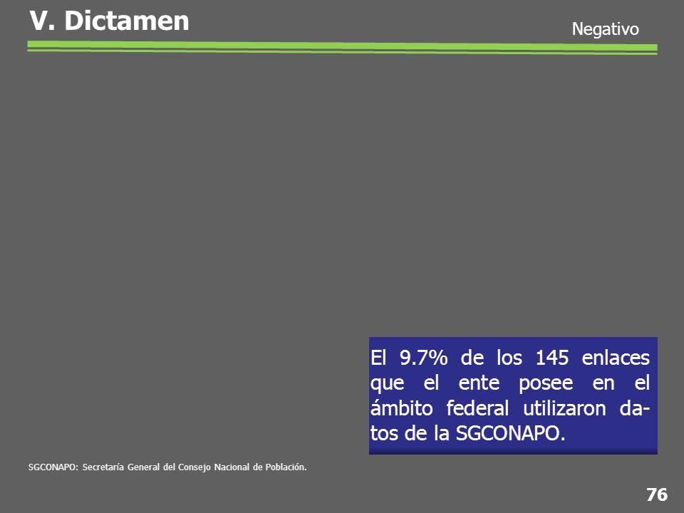 El 9.7% de los 145 enlaces que el ente posee en el ámbito federal utilizaron da- tos de la SGCONAPO.