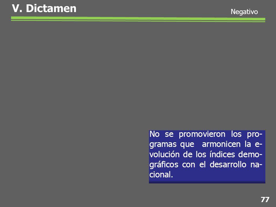 No se promovieron los pro- gramas que armonicen la e- volución de los índices demo- gráficos con el desarrollo na- cional.