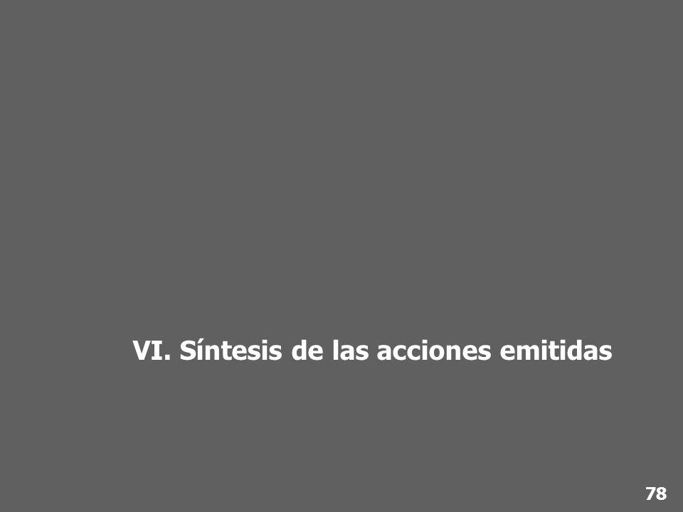 VI. Síntesis de las acciones emitidas 78