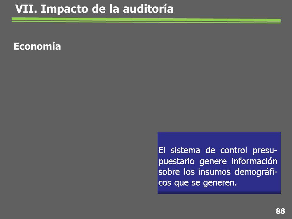 El sistema de control presu- puestario genere información sobre los insumos demográfi- cos que se generen.