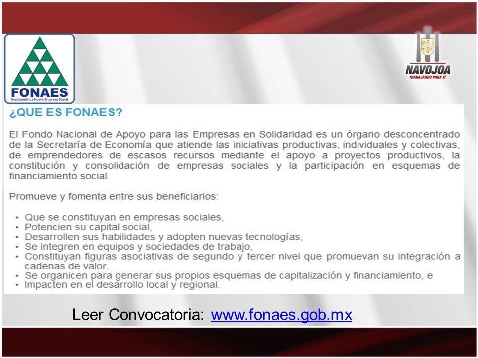 Leer Convocatoria: www.fonaes.gob.mxwww.fonaes.gob.mx