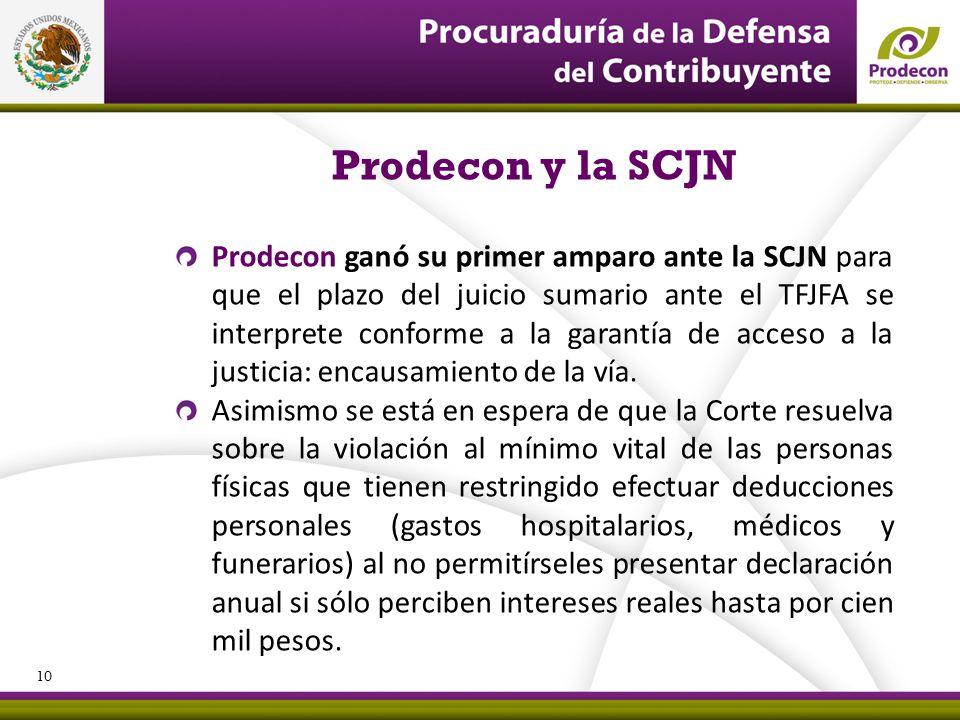 PROCURADURÍA DE LA DEFENSA DEL CONTRIBUYENTE Prodecon y la SCJN Prodecon ganó su primer amparo ante la SCJN para que el plazo del juicio sumario ante