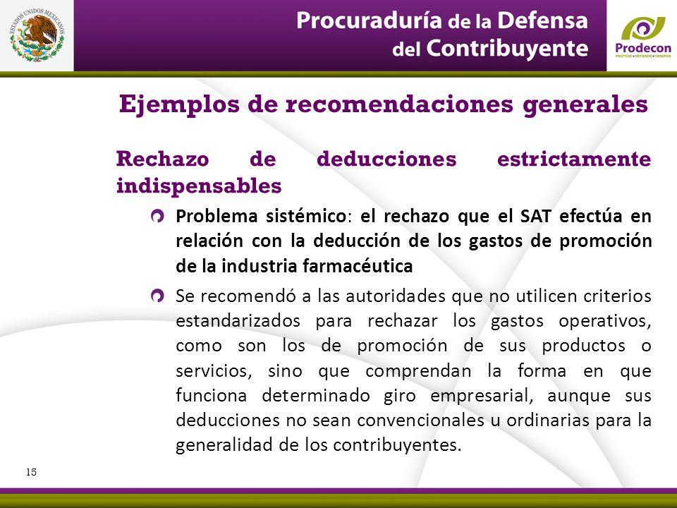 PROCURADURÍA DE LA DEFENSA DEL CONTRIBUYENTE Ejemplos de recomendaciones generales Rechazo de deducciones estrictamente indispensables Problema sistém