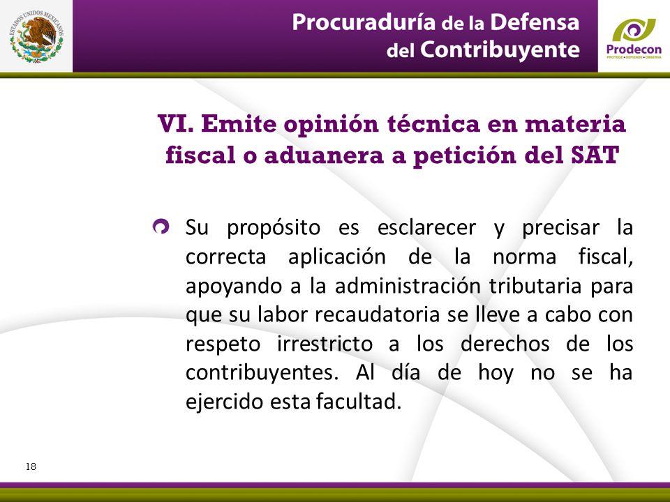 PROCURADURÍA DE LA DEFENSA DEL CONTRIBUYENTE VI. Emite opinión técnica en materia fiscal o aduanera a petición del SAT Su propósito es esclarecer y pr