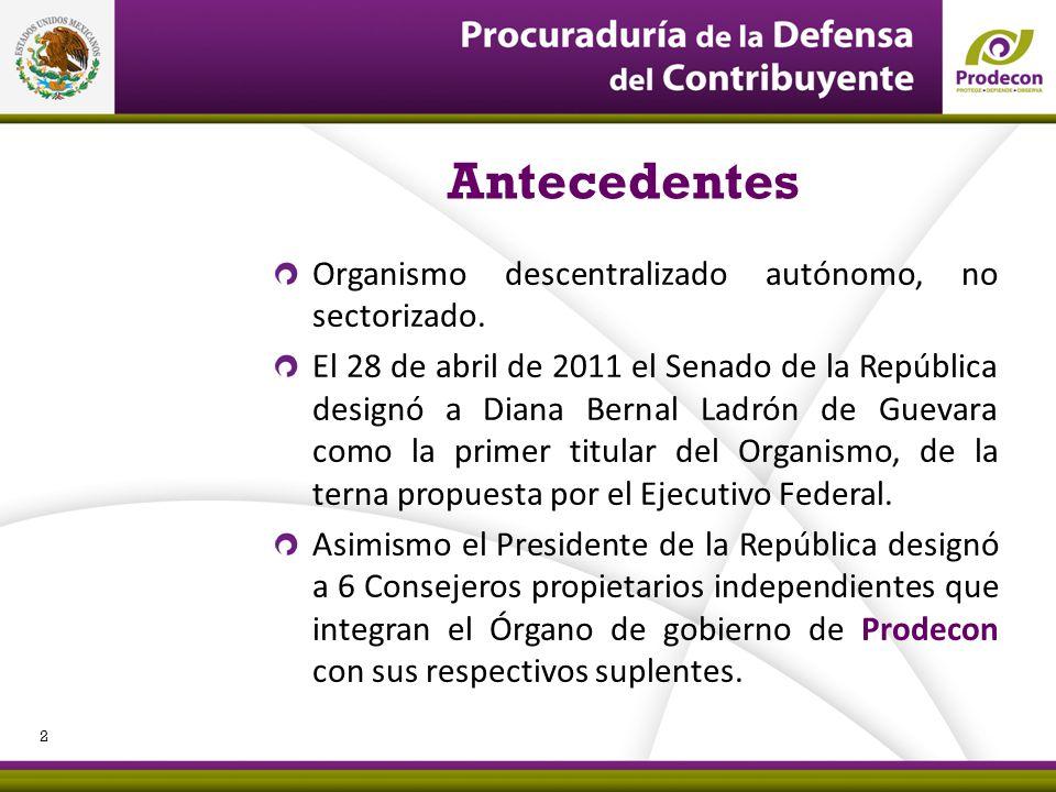 PROCURADURÍA DE LA DEFENSA DEL CONTRIBUYENTE Organismo descentralizado autónomo, no sectorizado. El 28 de abril de 2011 el Senado de la República desi