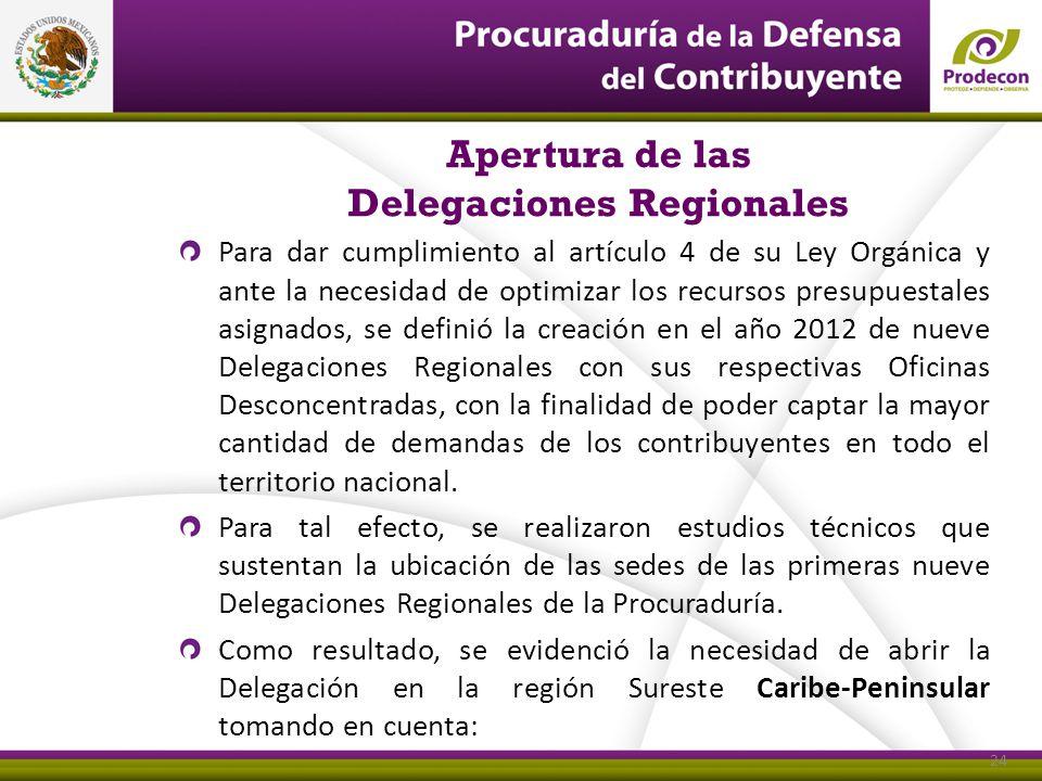 Apertura de las Delegaciones Regionales Para dar cumplimiento al artículo 4 de su Ley Orgánica y ante la necesidad de optimizar los recursos presupues