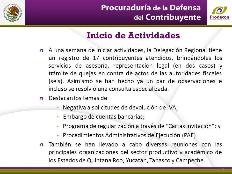 Inicio de Actividades 28 A una semana de iniciar actividades, la Delegación Regional tiene un registro de 17 contribuyentes atendidos, brindándoles lo