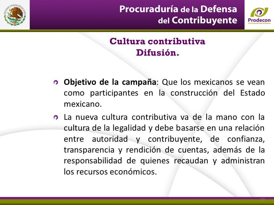 30 Cultura contributiva Difusión. 30 Objetivo de la campaña: Que los mexicanos se vean como participantes en la construcción del Estado mexicano. La n