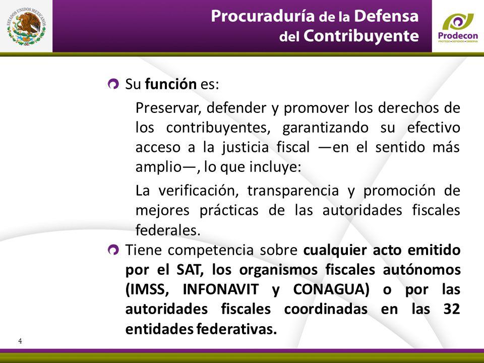 PROCURADURÍA DE LA DEFENSA DEL CONTRIBUYENTE Su función es: Preservar, defender y promover los derechos de los contribuyentes, garantizando su efectiv