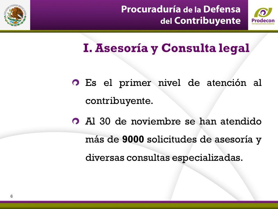 PROCURADURÍA DE LA DEFENSA DEL CONTRIBUYENTE I. Asesoría y Consulta legal Es el primer nivel de atención al contribuyente. Al 30 de noviembre se han a