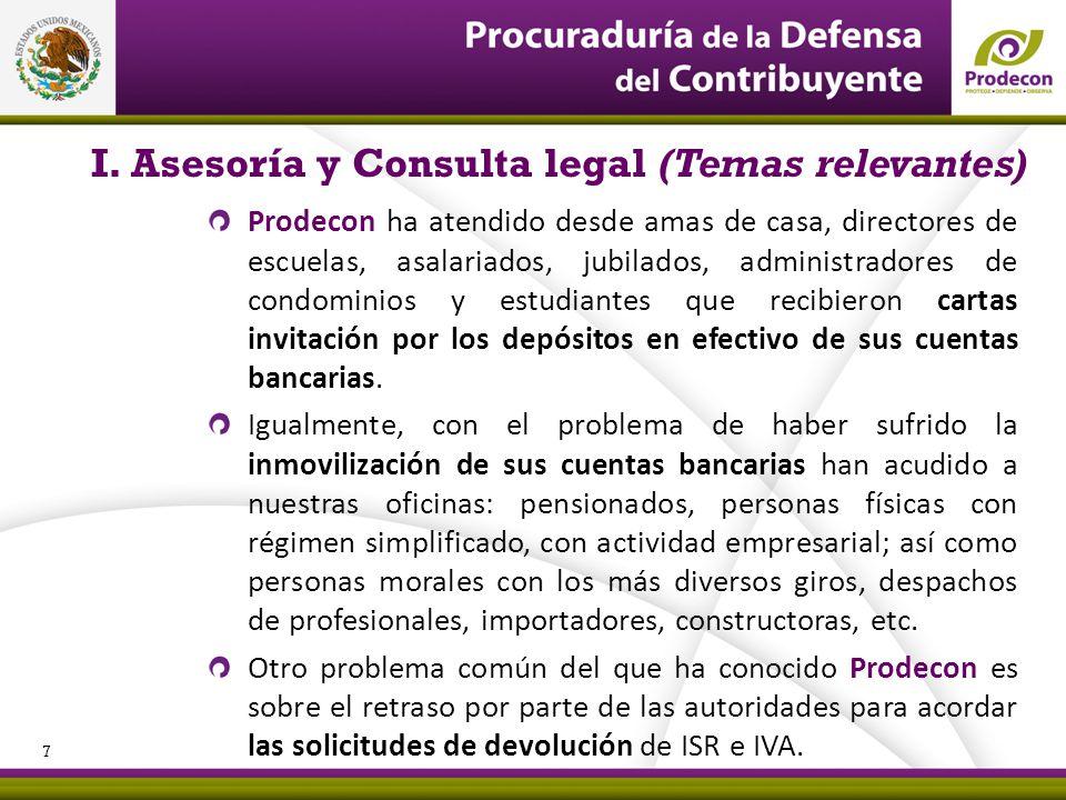 PROCURADURÍA DE LA DEFENSA DEL CONTRIBUYENTE I. Asesoría y Consulta legal (Temas relevantes) Prodecon ha atendido desde amas de casa, directores de es