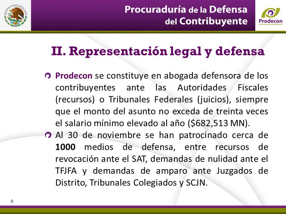 PROCURADURÍA DE LA DEFENSA DEL CONTRIBUYENTE II. Representación legal y defensa Prodecon se constituye en abogada defensora de los contribuyentes ante