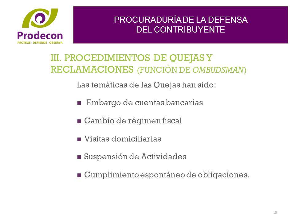 PROCURADURÍA DE LA DEFENSA DEL CONTRIBUYENTE III. PROCEDIMIENTOS DE QUEJAS Y RECLAMACIONES (FUNCIÓN DE OMBUDSMAN) Las temáticas de las Quejas han sido