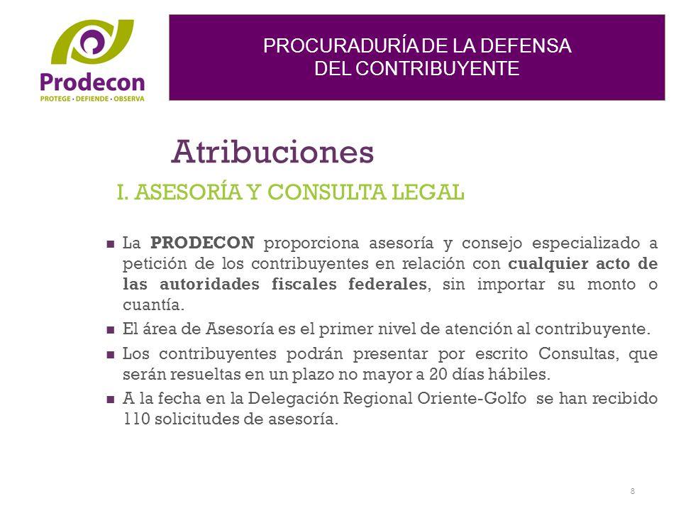 PROCURADURÍA DE LA DEFENSA DEL CONTRIBUYENTE Atribuciones La PRODECON proporciona asesoría y consejo especializado a petición de los contribuyentes en