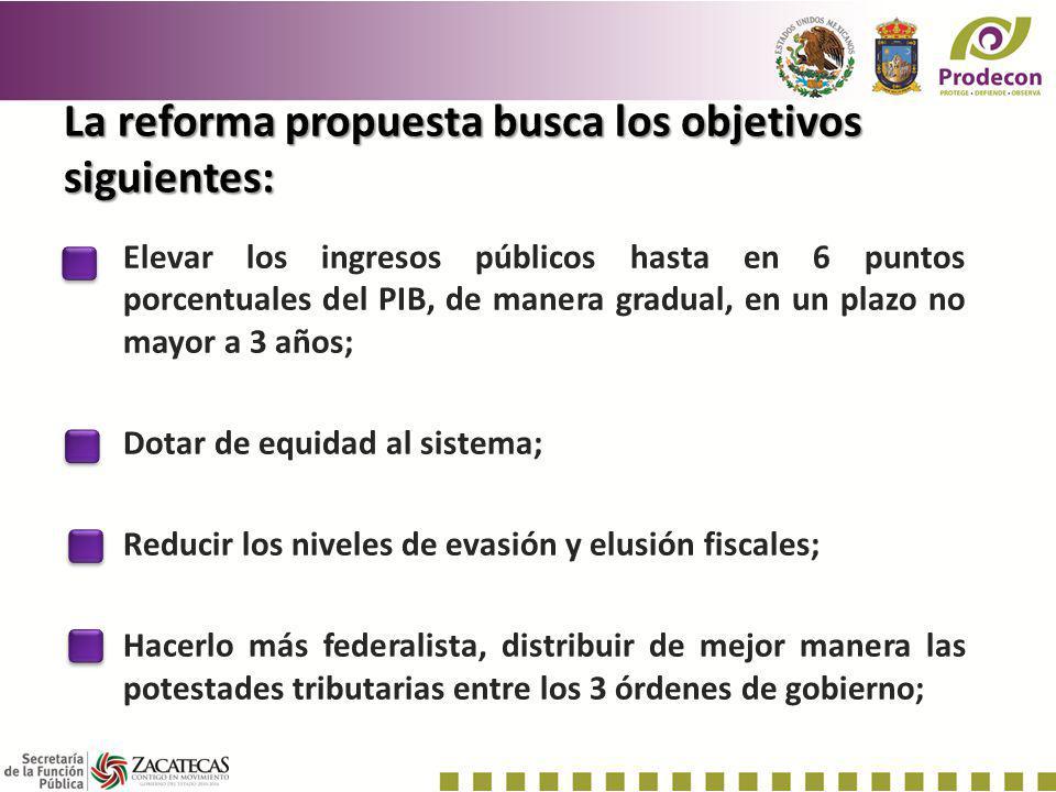 La reforma propuesta busca los objetivos siguientes: Elevar los ingresos públicos hasta en 6 puntos porcentuales del PIB, de manera gradual, en un pla