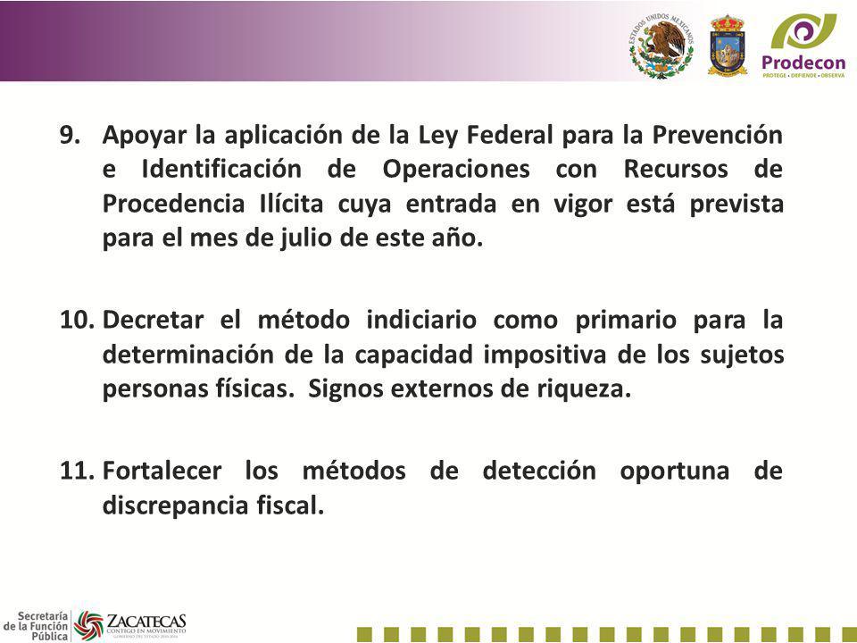 9.Apoyar la aplicación de la Ley Federal para la Prevención e Identificación de Operaciones con Recursos de Procedencia Ilícita cuya entrada en vigor