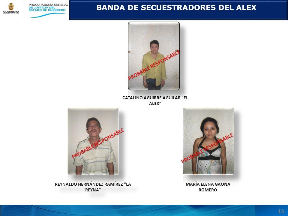 BANDA DE SECUESTRADORES DEL ALEX REYNALDO HERNÁNDEZ RAMÍREZ LA REYNA CATALINO AGUIRRE AGUILAR EL ALEX PROBABLE RESPONSABLE MARÍA ELENA GAONA ROMERO PROBABLE RESPONSABLE 13