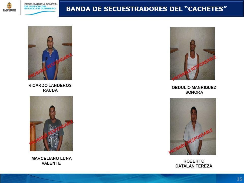 MARCELIANO LUNA VALENTE BANDA DE SECUESTRADORES DEL CACHETES RICARDO LANDEROS RAUDA ROBERTO CATALAN TEREZA 15 PROBABLE RESPONSABLE OBDULIO MANRIQUEZ S