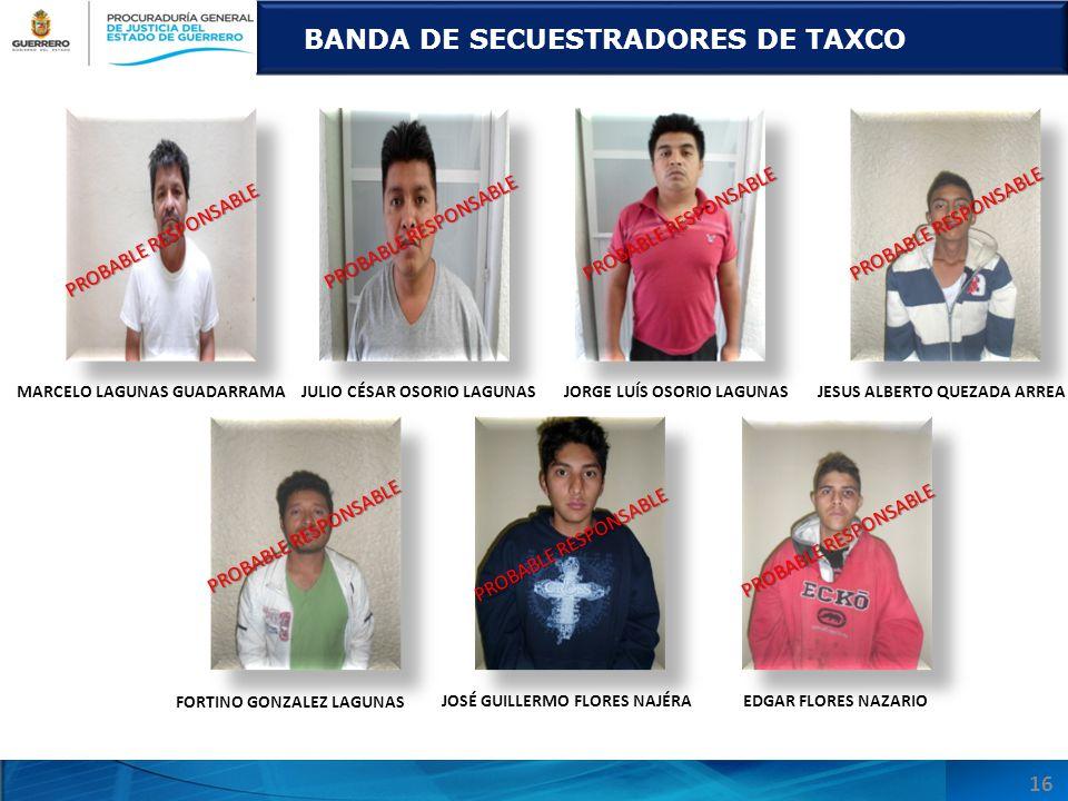 BANDA DE SECUESTRADORES DE TAXCO PROBABLE RESPONSABLE MARCELO LAGUNAS GUADARRAMAJULIO CÉSAR OSORIO LAGUNASJORGE LUÍS OSORIO LAGUNASJESUS ALBERTO QUEZA
