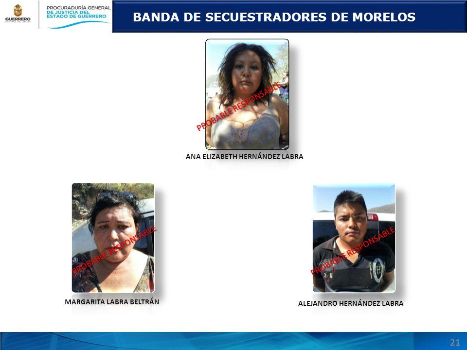 MARGARITA LABRA BELTRÁN BANDA DE SECUESTRADORES DE MORELOS ANA ELIZABETH HERNÁNDEZ LABRA ALEJANDRO HERNÁNDEZ LABRA PROBABLE RESPONSABLE 21