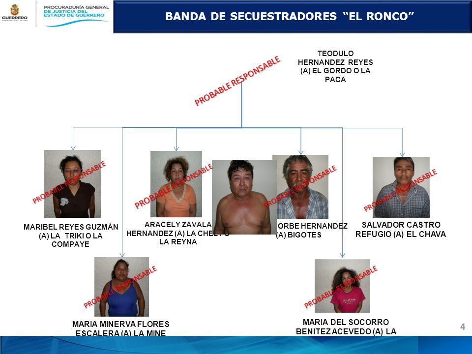 MARIA DEL SOCORRO BENITEZ ACEVEDO (A) LA SOCO SOCO SALVADOR CASTRO REFUGIO (A) EL CHAVA MARIA MINERVA FLORES ESCALERA (A) LA MINE CESAR ORBE HERNANDEZ (A) BIGOTES ARACELY ZAVALA HERNANDEZ (A) LA CHELY O LA REYNA MARIBEL REYES GUZMÁN (A) LA TRIKI O LA COMPAYE BANDA DE SECUESTRADORES EL RONCO 4 PROBABLE RESPONSABLE TEODULO HERNANDEZ REYES (A) EL GORDO O LA PACA