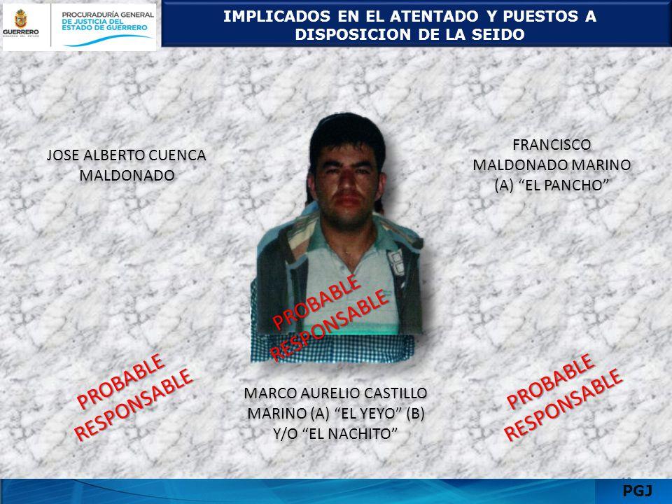 DETENIDO Y PRÓFUGOS 1311 PGJ JULIO CESAR GUZMAN CAMACHO (A) EL GUZMAN DETENIDO JULIO CESAR GUZMAN CAMACHO (A) EL GUZMAN DETENIDO ALEJANDRO HERRERA ESTRADA (A) EL CHINO PRÓFUGO ALEJANDRO HERRERA ESTRADA (A) EL CHINO PRÓFUGO P R O B A B L E R E S P O N S A B L E P R O B A B L E R E S P O N S A B L E EDER DE JESUS GONZALEZ LOPEZ (A) EL EDER PRÓFUGO EDER DE JESUS GONZALEZ LOPEZ (A) EL EDER PRÓFUGO P R O B A B L E R E S P O N S A B L E