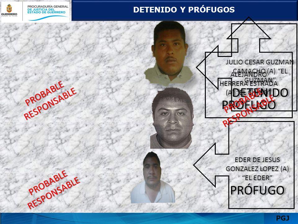 DETENIDO Y PRÓFUGOS 1311 PGJ JULIO CESAR GUZMAN CAMACHO (A) EL GUZMAN DETENIDO JULIO CESAR GUZMAN CAMACHO (A) EL GUZMAN DETENIDO ALEJANDRO HERRERA EST