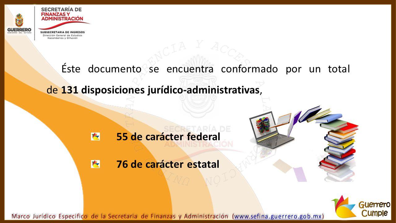 Éste documento se encuentra conformado por un total de 131 disposiciones jurídico-administrativas, 55 de carácter federal 76 de carácter estatal
