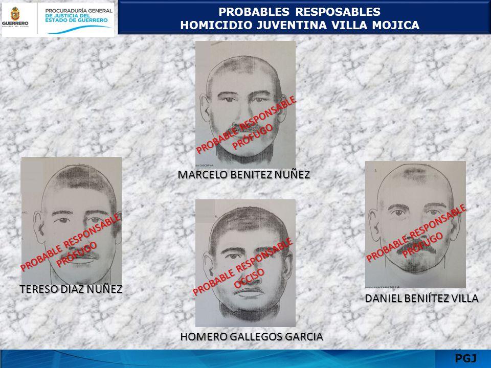 PROBABLES RESPOSABLES HOMICIDIO JUVENTINA VILLA MOJICA 1311 PGJ PROBABLE RESPONSABLE PRÓFUGO TERESO DIAZ NUÑEZ MARCELO BENITEZ NUÑEZ DANIEL BENIÍTEZ V