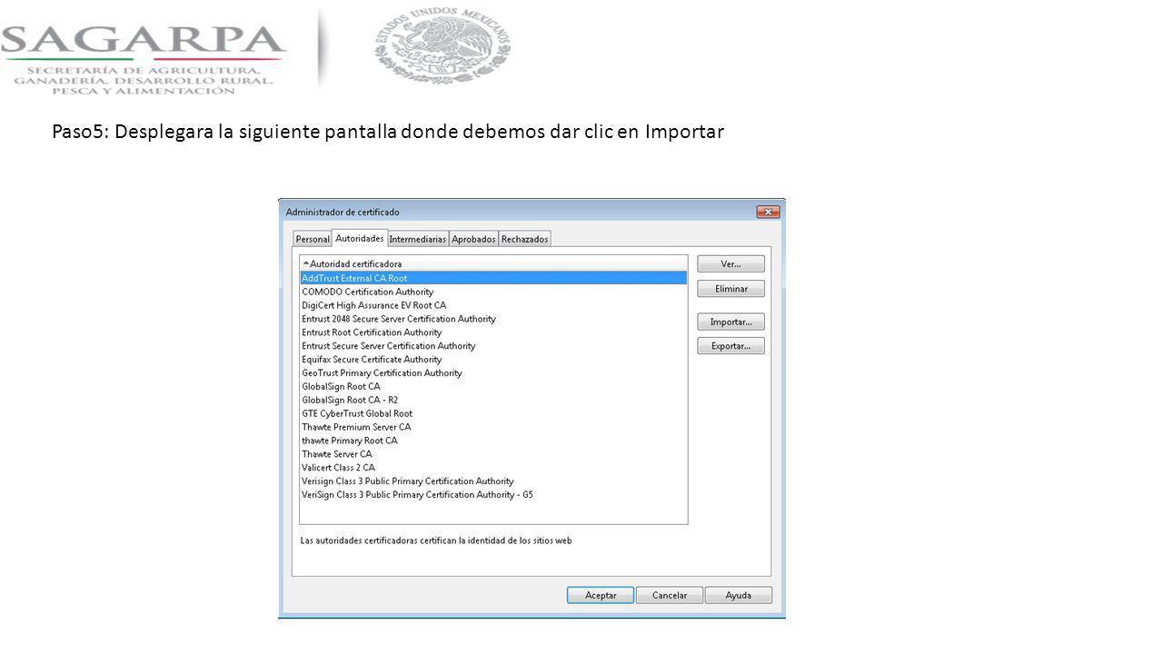 Paso5: Desplegara la siguiente pantalla donde debemos dar clic en Importar