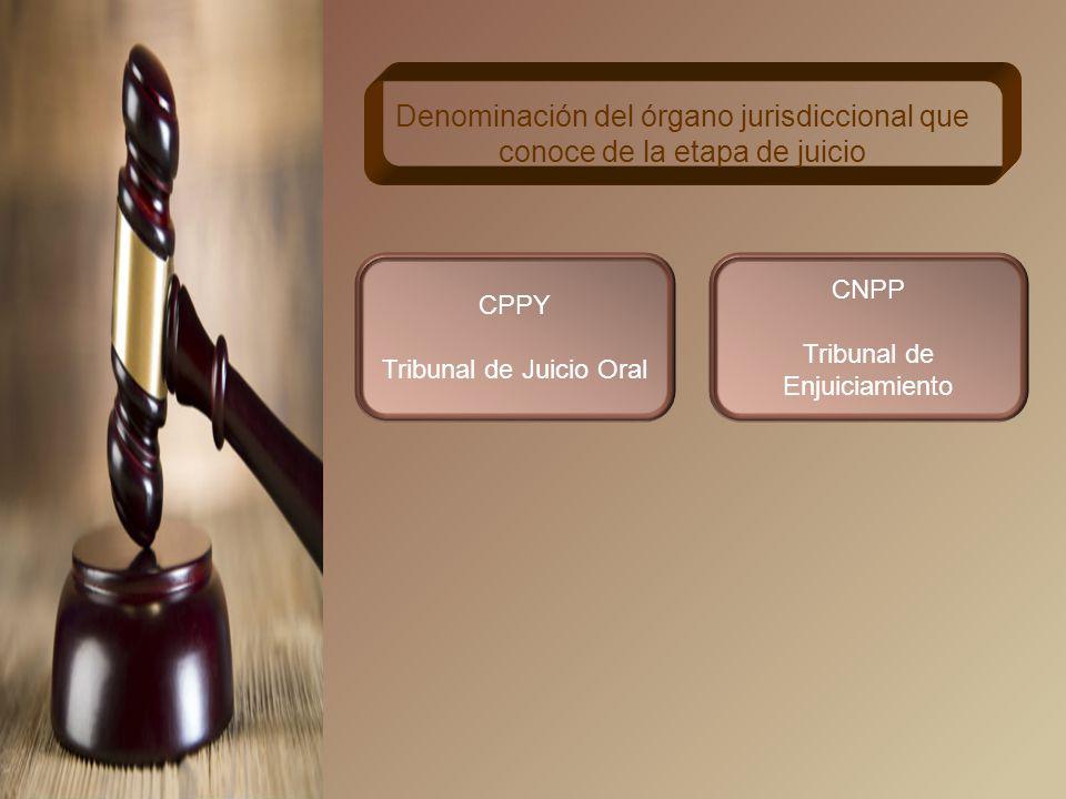 CPPY Cuerpo Colegiado integrado por tres jueces Integración del órgano jurisdiccional que conoce de la etapa de juicio CNPP Órgano Jurisdiccional integrado por uno o tres juzgadores