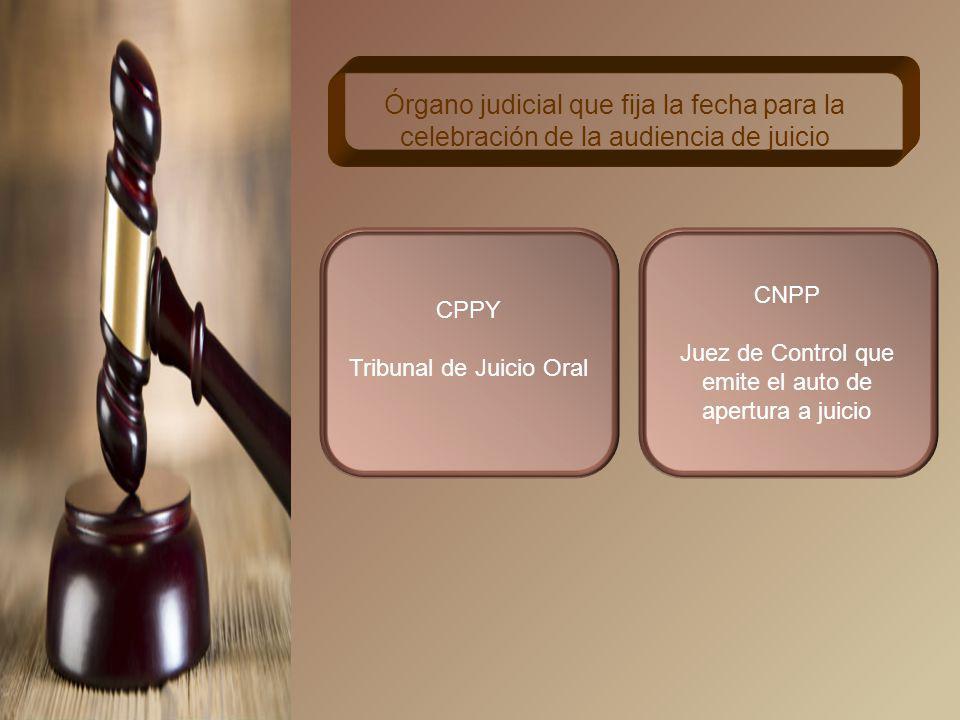 CPPY Auto de radicación emitido por el Tribunal de Juicio Oral Momento en que se fija la fecha de audiencia de juicio CNPP Auto de apertura a juicio emitido por el Juez de Control