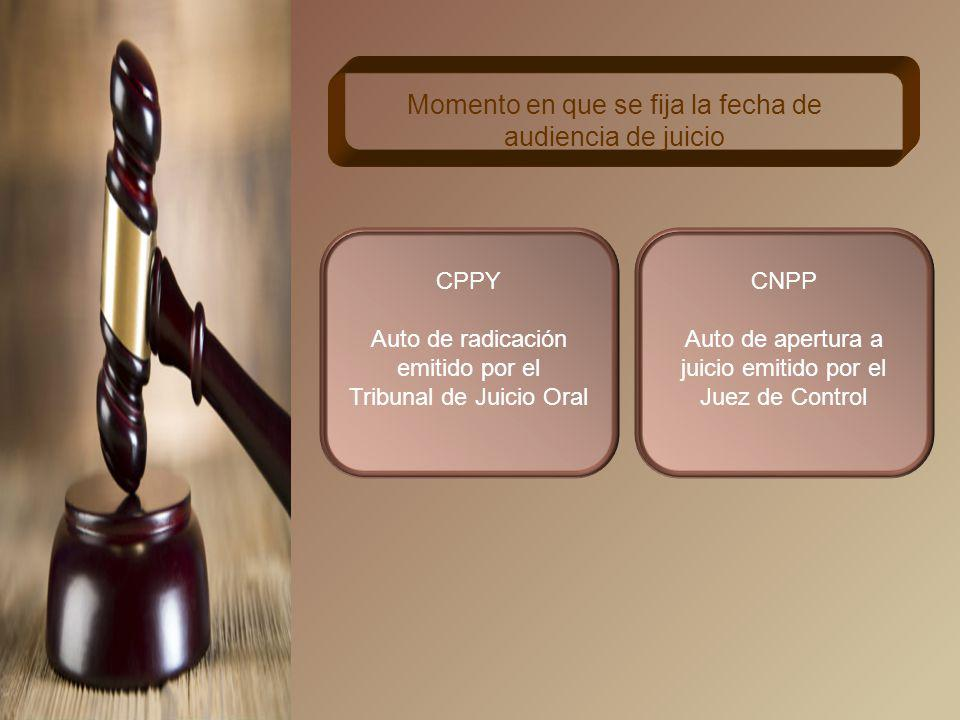CPPY No antes de 15 ni después de 20 días naturales desde la radicación del Tribunal de Juicio Oral Plazo para fijar fecha para la audiencia de juicio CNPP No antes de 20 ni después de 60 días naturales contados a partir de la emisión del auto de apertura a juicio