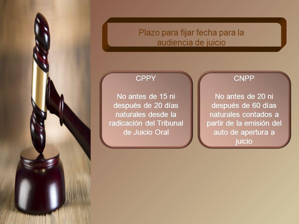 CPPY Dentro de las 48 horas siguientes al momento de quedar firme Remisión del auto de apertura a juicio CNPP 5 días siguientes de haberse dictado