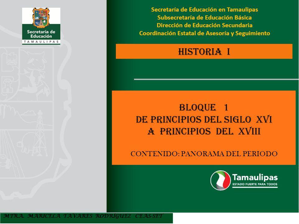 MTRA. MARICELA TAVARES RODRÍGUEZ CEAS-SET HISTORIA I BLOQUE 1 DE PRINCIPIOS DEL SIGLO XVI A PRINCIPIOS DEL XVIII CONTENIDO: PANORAMA DEL PERIODO