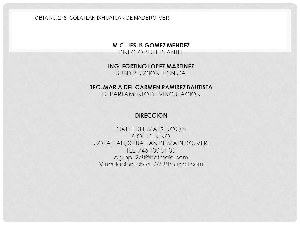CBTA No.278, COLATLAN IXHUATLAN DE MADERO, VER. M.C.