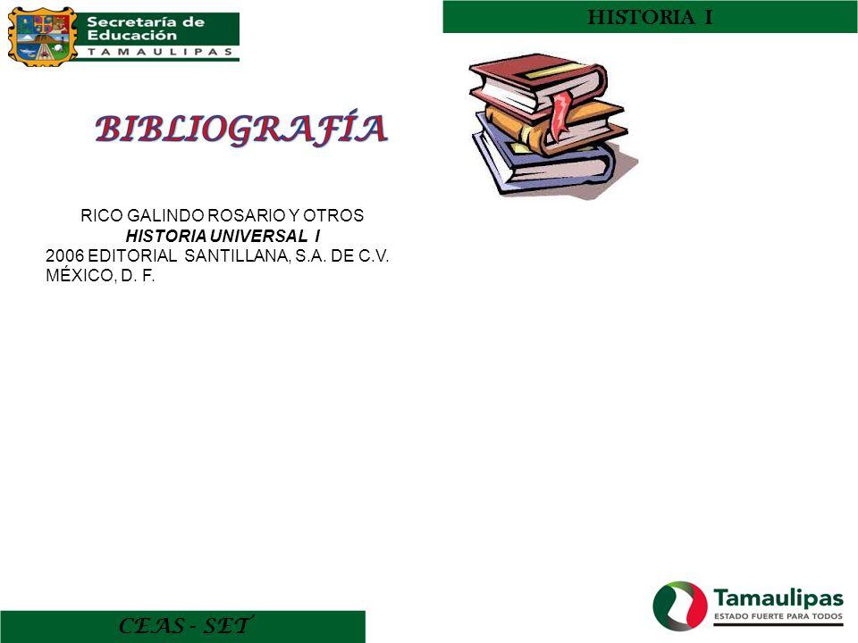 HISTORIA I CEAS - SET RICO GALINDO ROSARIO Y OTROS HISTORIA UNIVERSAL I 2006 EDITORIAL SANTILLANA, S.A. DE C.V. MÉXICO, D. F.