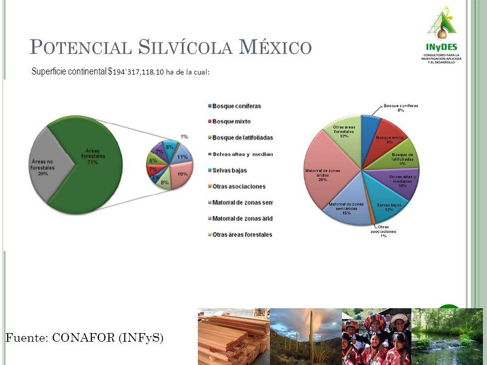 P OTENCIAL S ILVÍCOLA M ÉXICO Superficie continental $ 194`317,118.10 ha de la cual: Fuente: CONAFOR (INFyS)