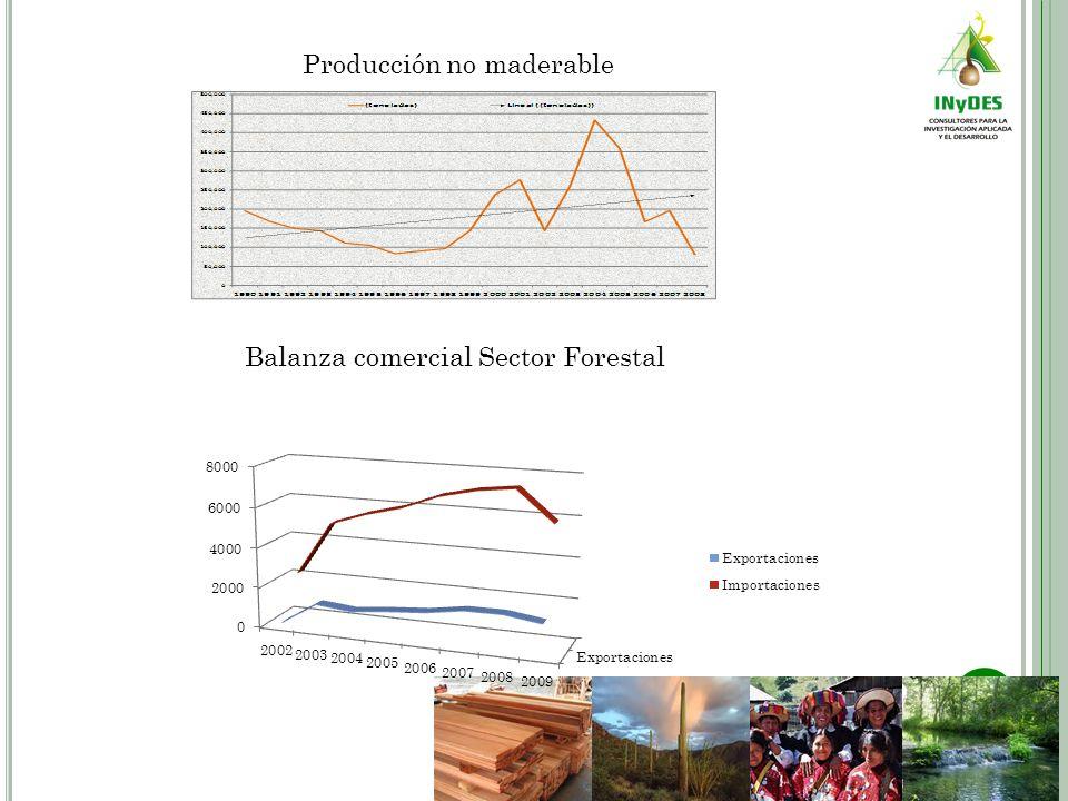 Producción no maderable Balanza comercial Sector Forestal