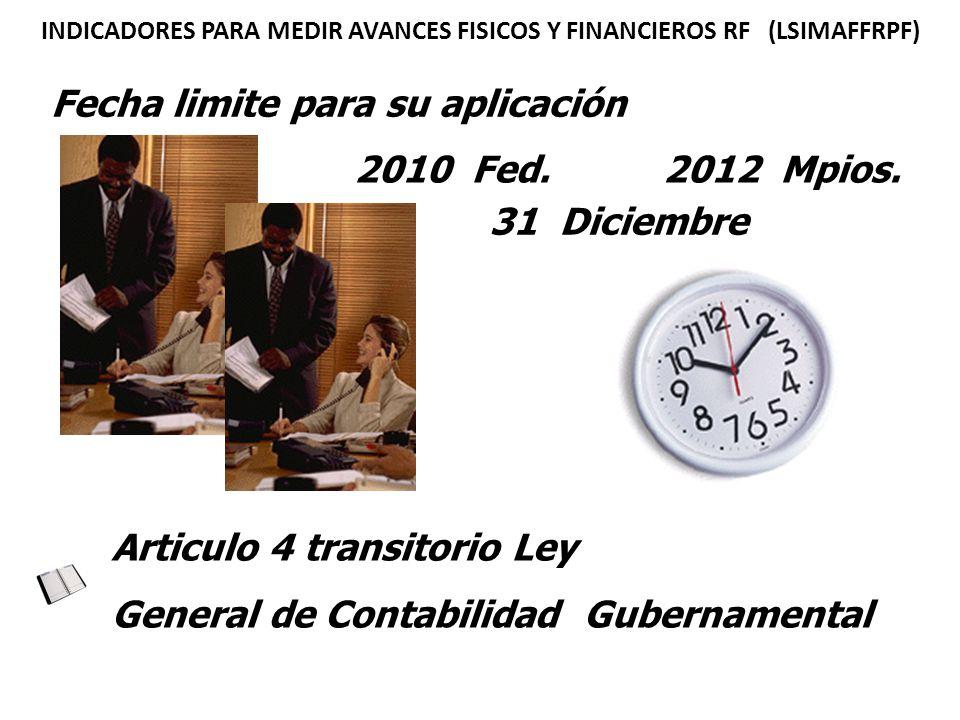Fecha limite para su aplicación 2012 Mpios.