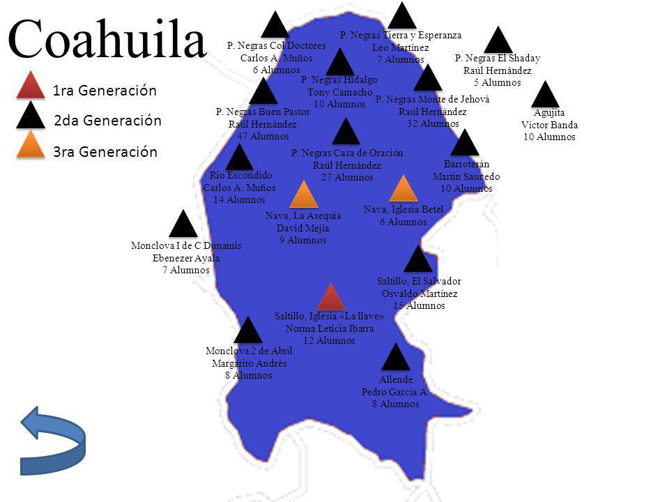 Coahuila 1ra Generación 2da Generación 3ra Generación Saltillo, Iglesia «La llave» Norma Leticia Ibarra 12 Alumnos P. Negras Col Doctores Carlos A. Mu