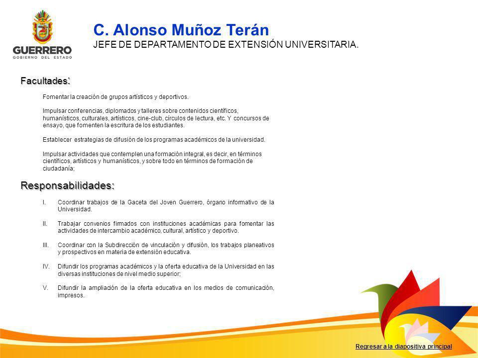 Facultades : Responsabilidades: Regresar a la diapositiva principal I.Coordinar trabajos de la Gaceta del Joven Guerrero, órgano informativo de la Uni