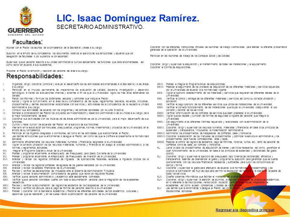 Facultades : Responsabilidades: Regresar a la diapositiva principal I.Organizar, dirigir, coordinar, controlar y evaluar el desempeño de las actividad