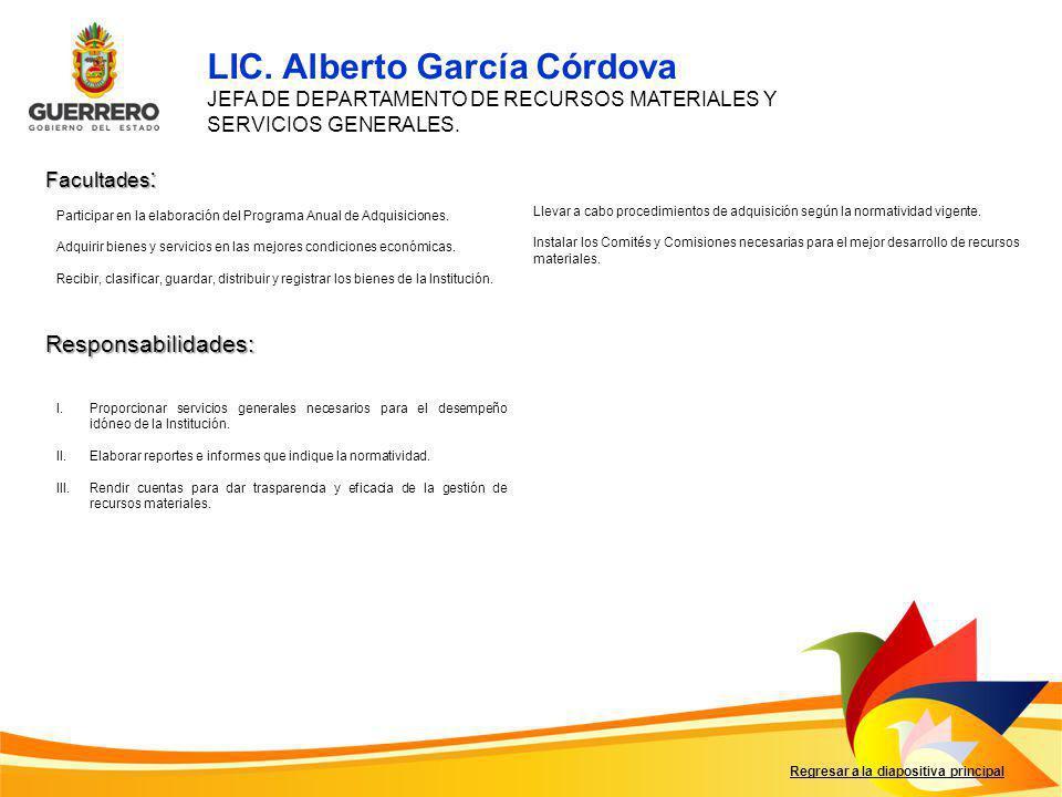 Facultades : Responsabilidades: Regresar a la diapositiva principal I.Proporcionar servicios generales necesarios para el desempeño idóneo de la Insti