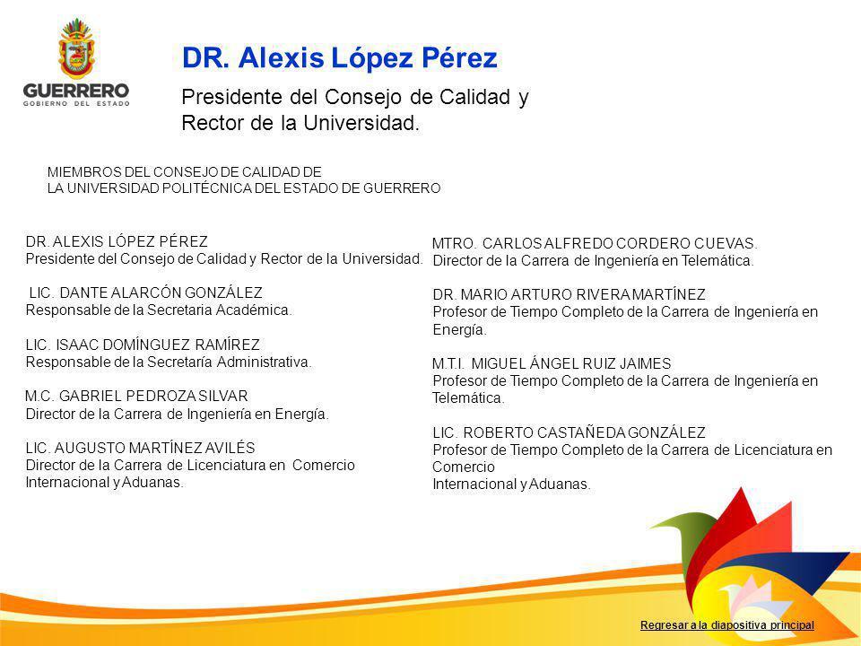 MIEMBROS DEL CONSEJO DE CALIDAD DE LA UNIVERSIDAD POLITÉCNICA DEL ESTADO DE GUERRERO Regresar a la diapositiva principal DR. ALEXIS LÓPEZ PÉREZ Presid