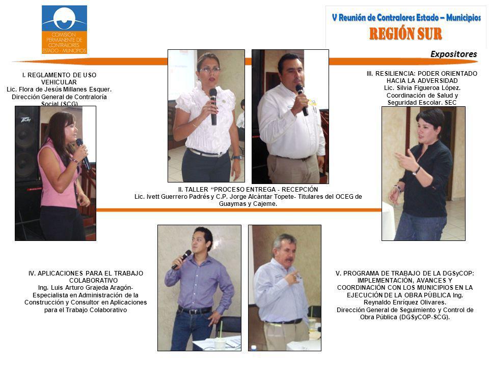 Expositores I.REGLAMENTO DE USO VEHICULAR Lic. Flora de Jesús Millanes Esquer.